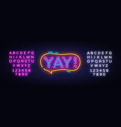 yay neon sign yay pop art design template vector image