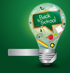 Creative light bulb with back to school concept vector image