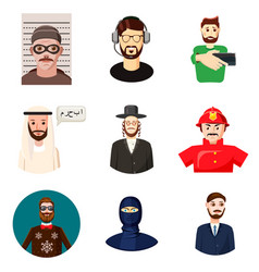 man avatar icon set cartoon style vector image