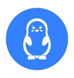 Penguin black icon for web and vector image