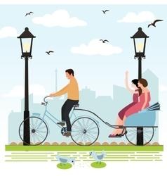 riding rickshaw in town tourist enjoy city scene vector image vector image