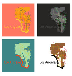 Set of los angeles map flat style design vector