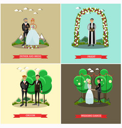 set of wedding ceremony posters in flat vector image
