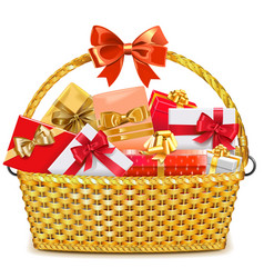 Wicker Basket with Gifts vector image