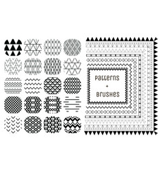20 geometric patterns and 7 pattern brushes vector image vector image