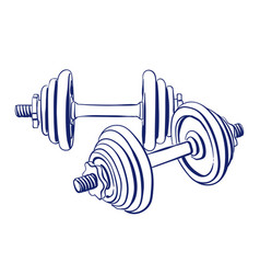 dumbbells doodle drawing vector image vector image