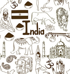 Sketch India seamless pattern vector image vector image