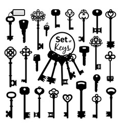 vintage antique key collection vector image vector image