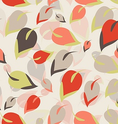 Seamless pattern Orange brown green leaves on a vector image
