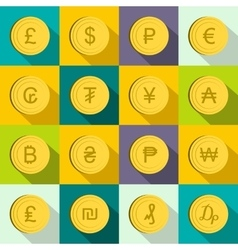 Currency gold coin icons set flat style vector image