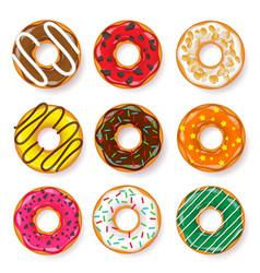 donut begel with cream cookiescookie cake set vector image