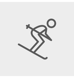 Downhill skiing thin line icon vector image vector image