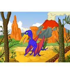 funny pterodactyl cartoon with volcano vector image vector image
