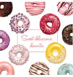 hand drawn tasty donuts vector image vector image