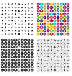 100 childrens park icons set variant vector