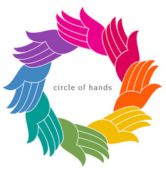 A colorful diverse circle of hands vector