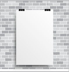 A white poster on a grey wall vector image
