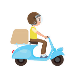 a young boy riding a delivery scooter vector image
