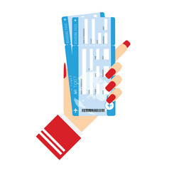 air ticket in woman hand vector image