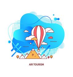 Air tourism airship balloon with basket vector