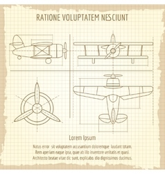 Aircraft retro blueprint drawing vector