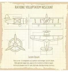 Aircraft retro blueprint drawing vector image vector image
