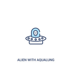 Alien with aqualung concept 2 colored icon simple vector
