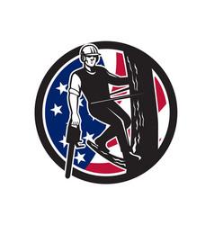 american tree surgeon usa flag icon vector image