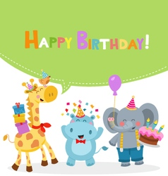 Animal Birthday Card vector