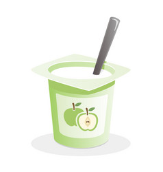 Apple yogurt with spoon inside on white background vector
