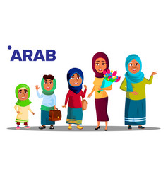 arab muslim generation female set people person vector image
