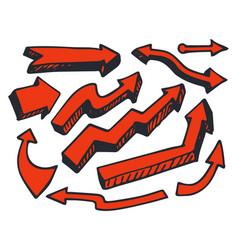 arrows red color hand drawn vector image