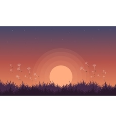 At night spring landscape with flower vector