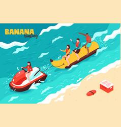 banana boating vector image