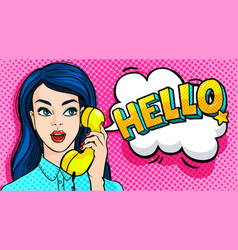 Beautiful young woman talking on phone vector