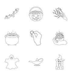 Black and white magic set icons in outline style vector