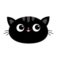 black cat head face oval icon with big eyes pink vector image