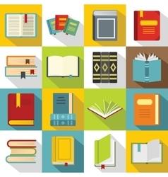 Books icons set flat style vector image