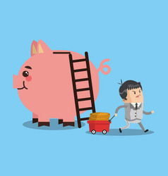 businessman with money savings and big piggy vector image