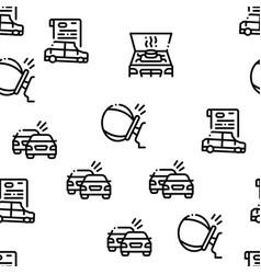 Car crash accident seamless pattern vector
