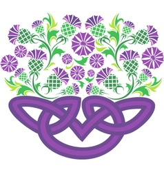 Celtic knot in the form of a basket with flowers vector