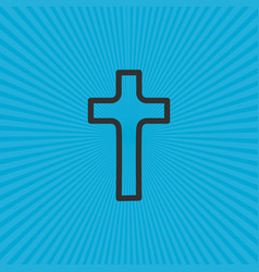 Christian cross icon in flat design and sunny vector