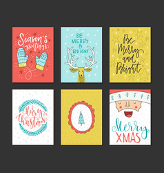 christmas lettering collection vector image