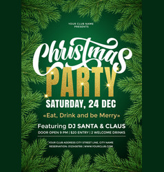 christmas party banner template with text and fir vector image