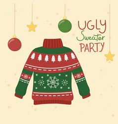 Christmas ugly sweater party balls stars hanging vector