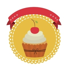 Circular border with cupcake with cream and cherry vector