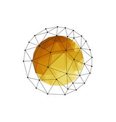 color abstract geometric sphere with gold vector image