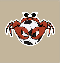 crab is hugging a football vector image
