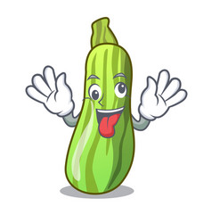 Crazy fresh vegetable zucchini isolated on mascot vector