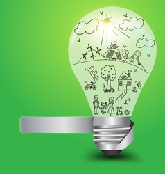 Creative light bulb with happy family and ecology vector